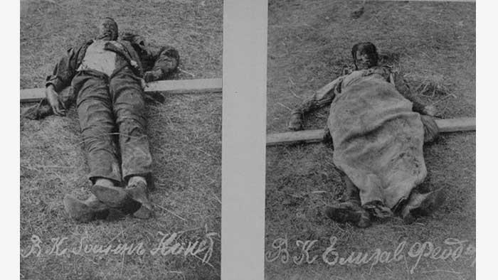 Поднятые из шахты тела Алапаевских мучеников