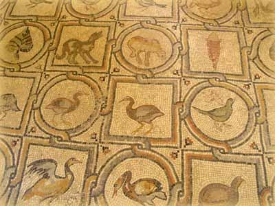 Мозаика с флорой и фауной Святой Земли в часовне обретения честной главы св.Иоанна Предтечи