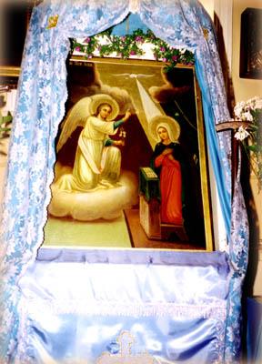 Чудотворная икона Благовещения, приносимая из Троицкого собора Миссии на 3 месяца в Горний