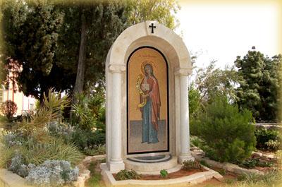 Мозаичная икона св.прав.Тавифы на русском участке в Яффо